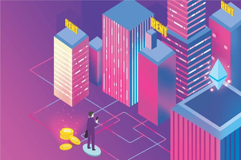 токенизация на недвижими имоти, човек с телефон и сгради