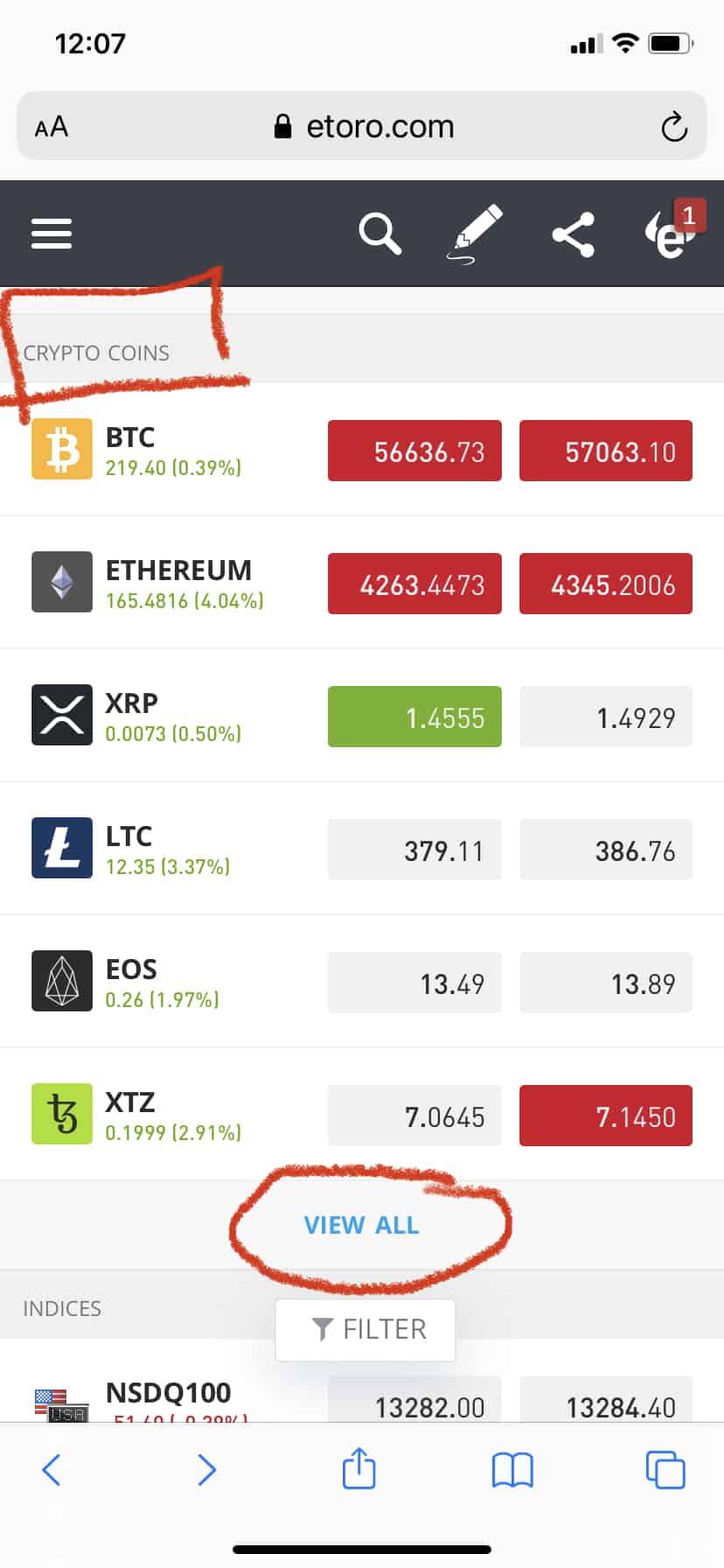списък с налични криптовалути